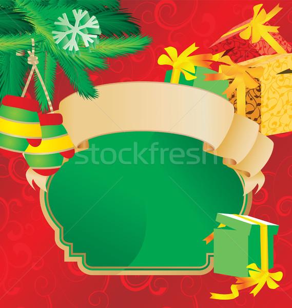 Karácsony tekercs klasszikus terv keret művészet Stock fotó © cherju