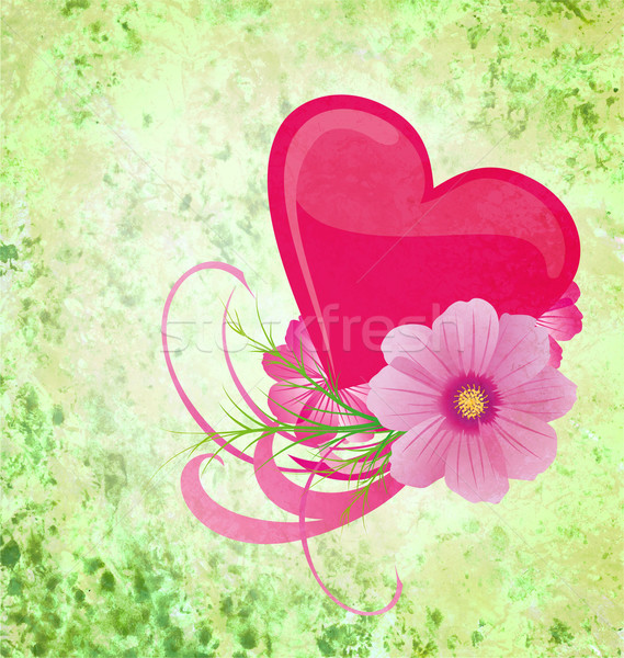 green grunge background with purple and pink heart and flowers Stock photo © cherju