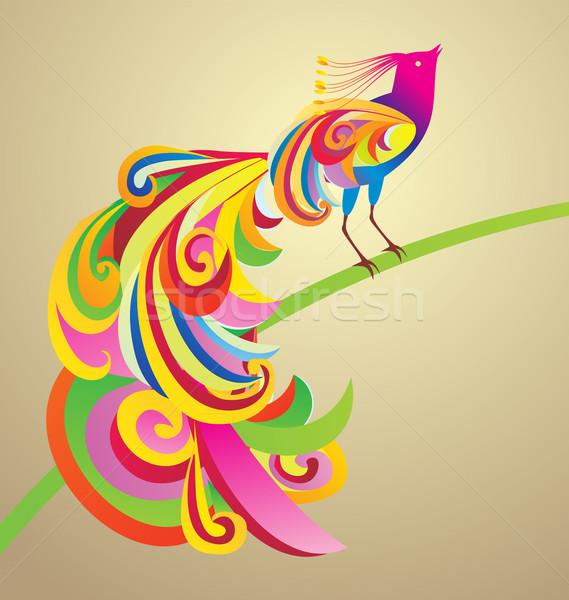 Peafowl bird decor style illustration colorful image Stock photo © cherju