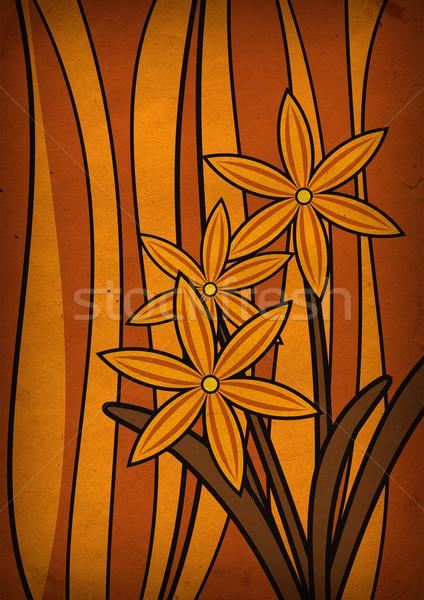 Sárga virágok csíkos grunge papír természet terv Stock fotó © cherju