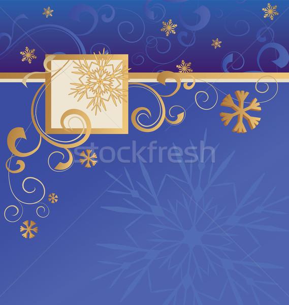 Vektor kék karácsony arany hópelyhek keret Stock fotó © cherju