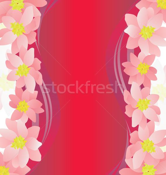 pink flowers border on dark magenta background Stock photo © cherju