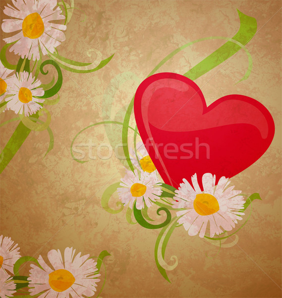 red heart ans daisy grunge watercolor on dark paper background Stock photo © cherju