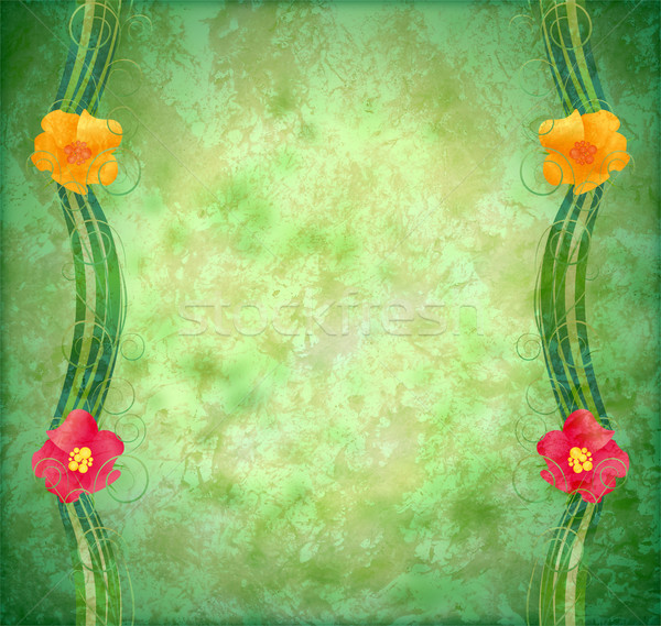 green textured background with flowers border Stock photo © cherju