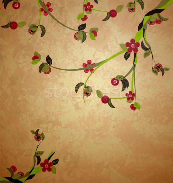 blossoming tree illustration on grunge old paper background Stock photo © cherju