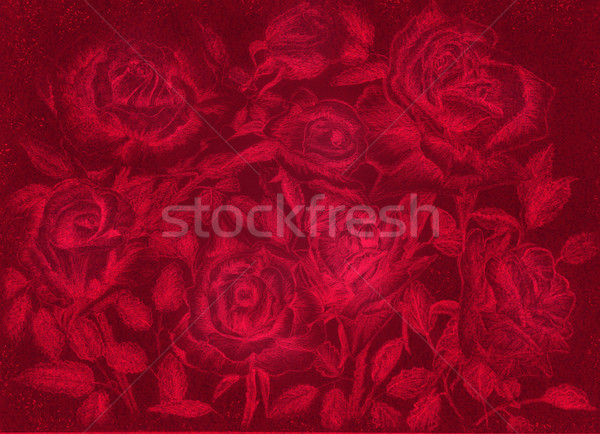 red roses pensil draw dark floral vintage background Stock photo © cherju