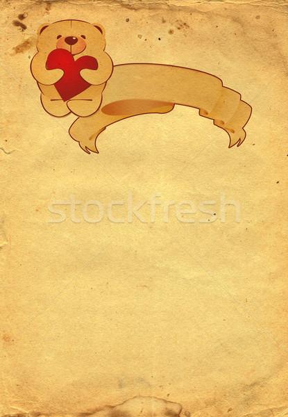 Plüssmaci régi papír textúra terv háttér keret Stock fotó © cherju