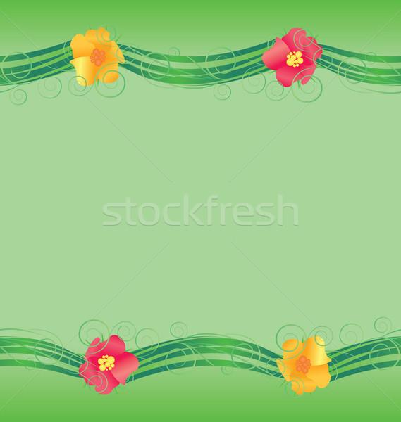 Színes virágok keret zöld tavasz természet Stock fotó © cherju