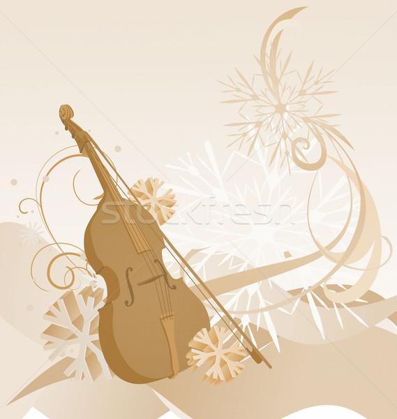 Retro hegedű tél illusztráció barna papír Stock fotó © cherju
