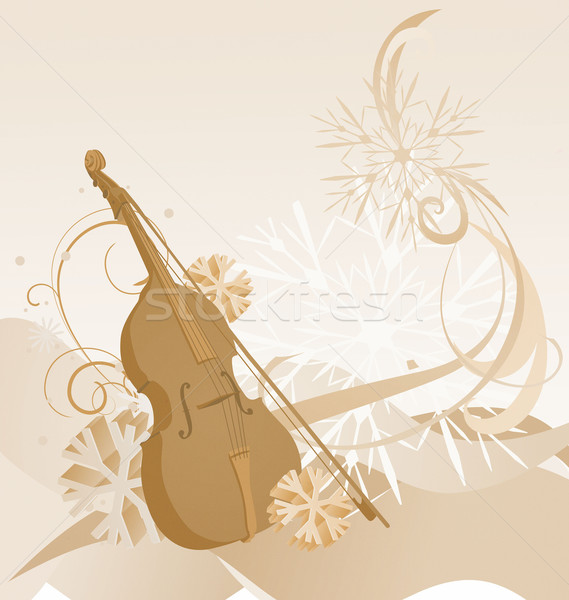 retro violin winter illustration Stock photo © cherju