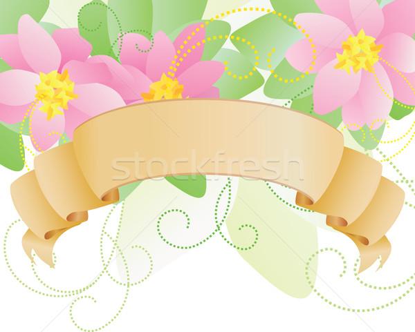 Vector roze bloemen label scroll voorjaar Stockfoto © cherju