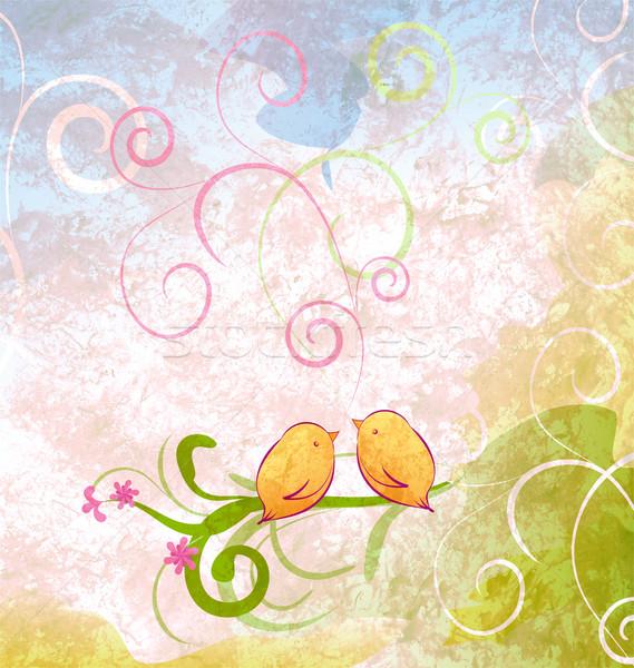 cute birds sitting on the tree branch illustration with florishe Stock photo © cherju