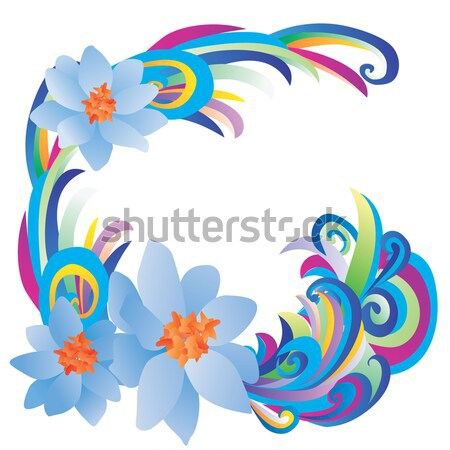 dancing woman silhuette with color stripes and flowers on blue g Stock photo © cherju