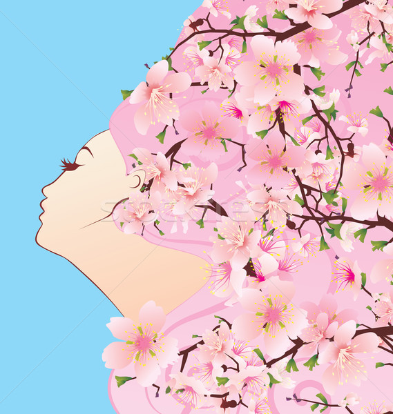 beauty girl profile with spring blossoming hair cherry flowers Stock photo © cherju