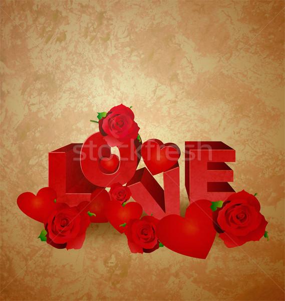 Szeretet piros szöveg barna régi papír grunge Stock fotó © cherju