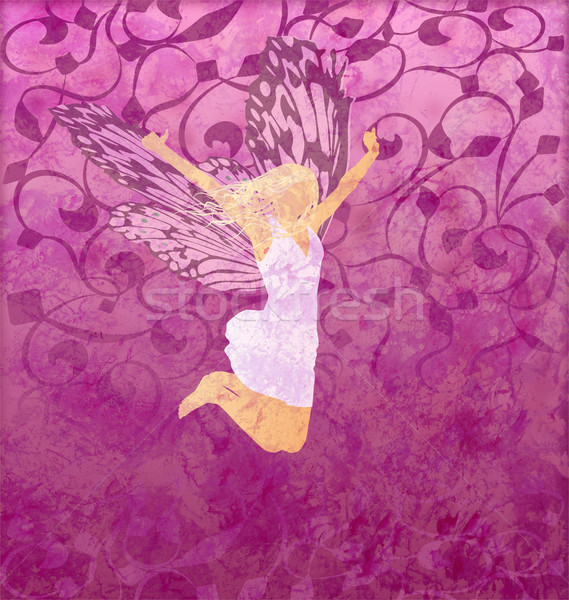 Stock photo: pink gunge illustration with fairy girl with butterfly wings