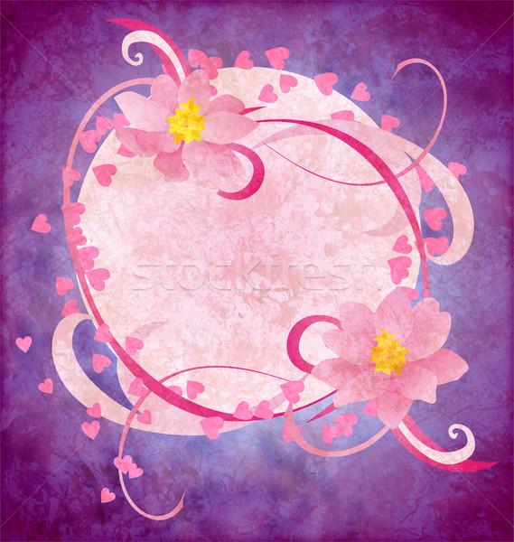 Grunge rózsaszín virágok lila papír víz Stock fotó © cherju