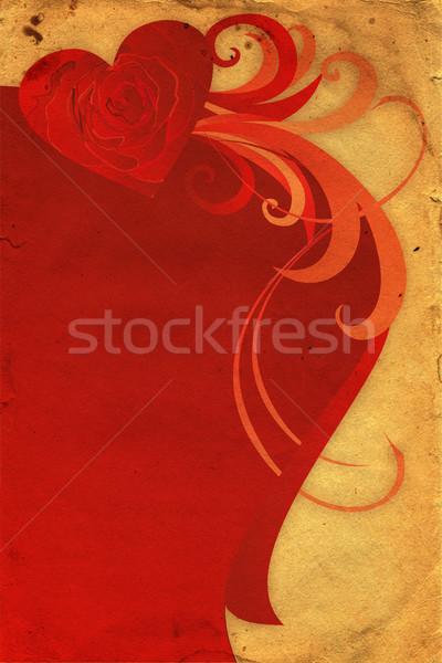 Corazón aumentó diseno marco arte negro Foto stock © cherju