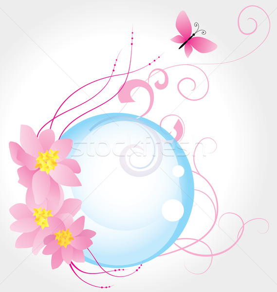 blue bubble and three pink flowers with butterfly isolated on wh Stock photo © cherju
