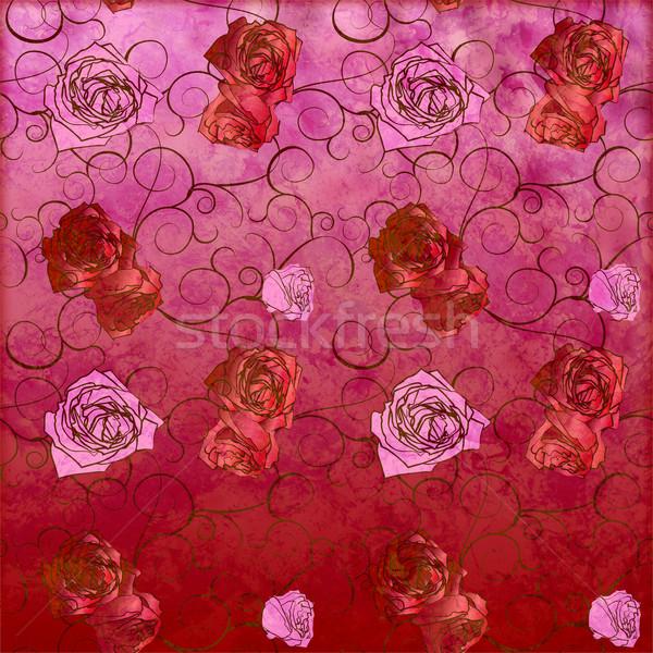 Azul rosas vintage patrón grunge efecto Foto stock © cherju