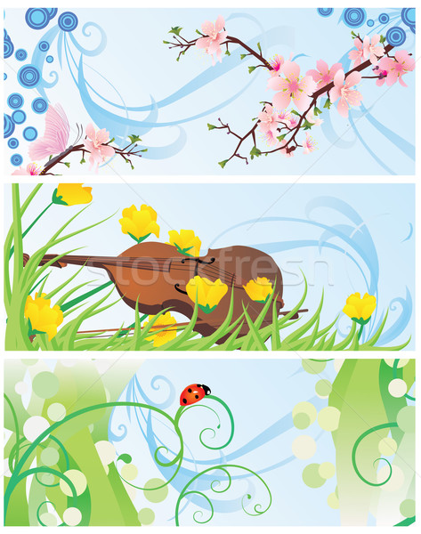 spring banners set with blossom tree, violin, flowers and ladybi Stock photo © cherju