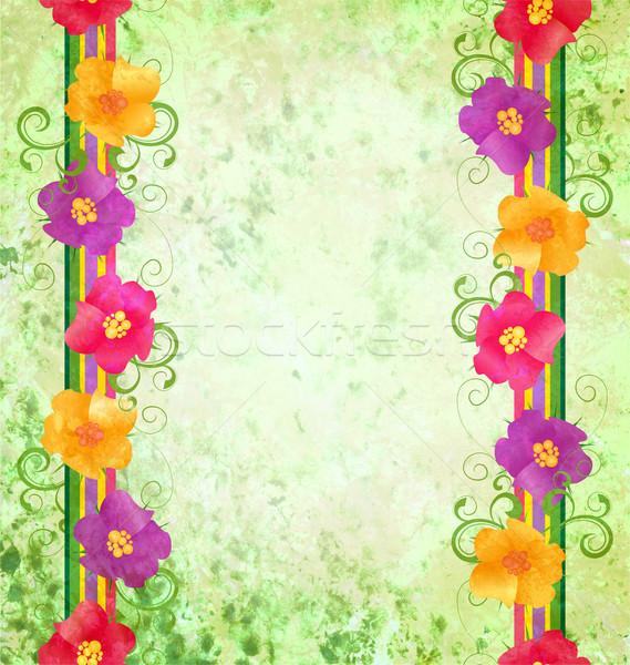 Coloré fleurs frontière vert printemps nature Photo stock © cherju