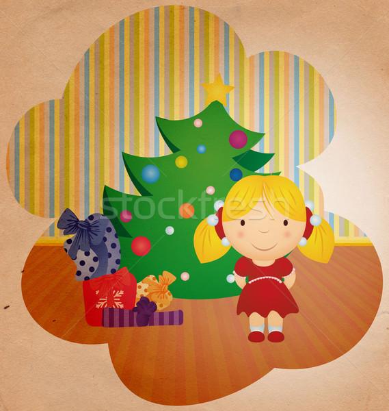 Stockfoto: Vintage · cartoon · meisje · kerstboom · geschenken · boom