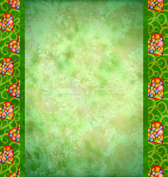 grunge green background with flowers hearts borders Stock photo © cherju