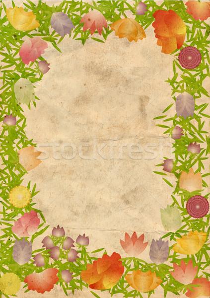 Papel viejo tarjeta flores hoja belleza retro Foto stock © cherju