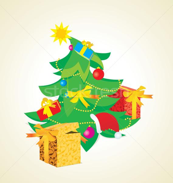 Vintage árbol de navidad ilustración cajas de regalo textura pelota Foto stock © cherju