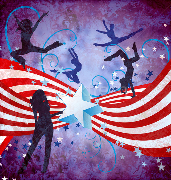 USA independence day dancing women grunge background with stars  Stock photo © cherju