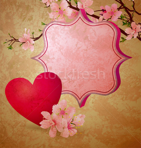 grunge illustration with blooming cherry tree and red heart vale Stock photo © cherju