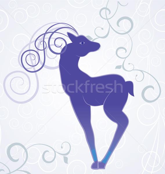 Vektor karácsony kék dekoráció szarvas fehér Stock fotó © cherju