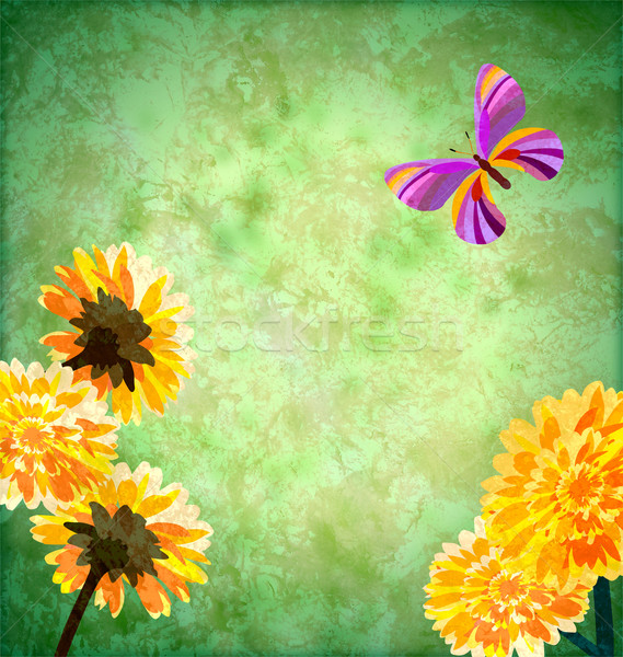 Stock photo: green background with yellow flowers and butterfly