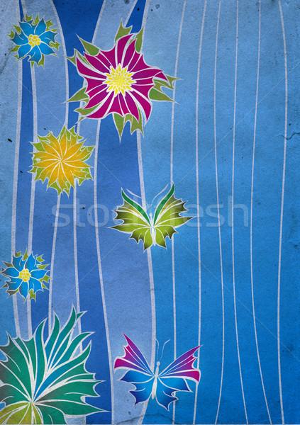 Azul resumen retro flores naturaleza diseno Foto stock © cherju