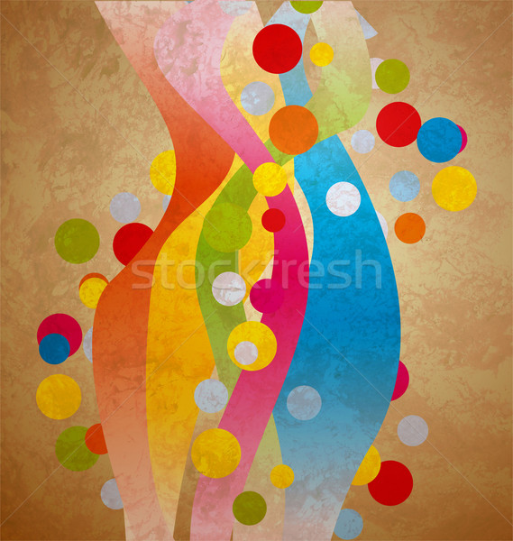 grunge colorful waves and circles vintage paper background Stock photo © cherju