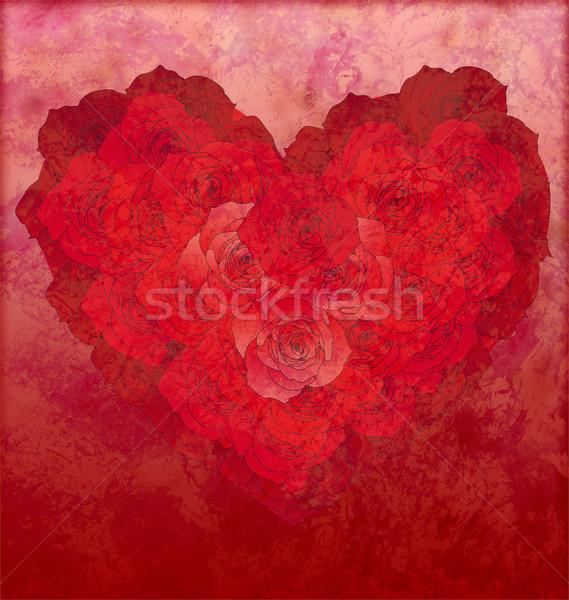 Vörös rózsák szív piros grunge szeretet esküvő Stock fotó © cherju