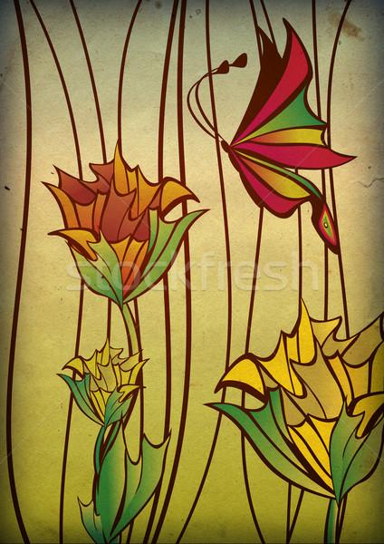 Mariposa primavera resumen color wallpaper blanco Foto stock © cherju