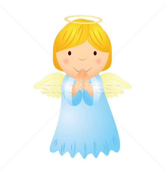 Vektor rajz angyal lány arany haj Stock fotó © cherju