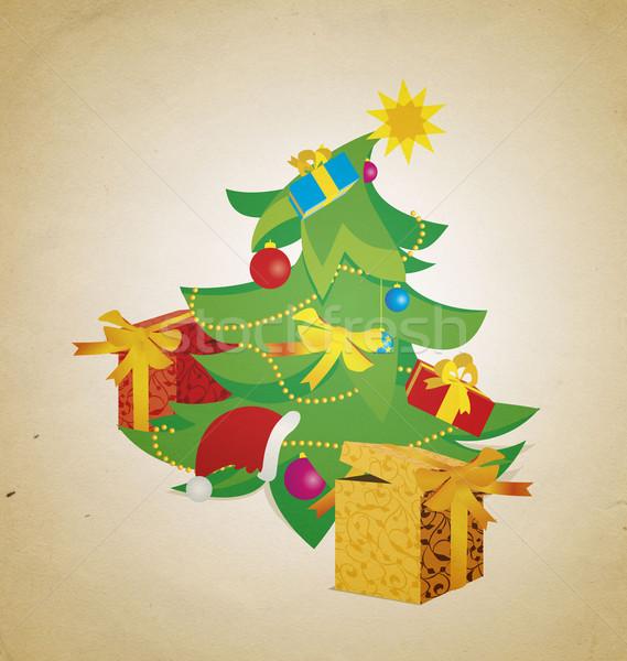 Klasszikus karácsonyfa ajándékdobozok illusztráció textúra labda Stock fotó © cherju