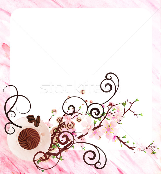 coffee cup and pink flowers watercolor pink illustration Stock photo © cherju