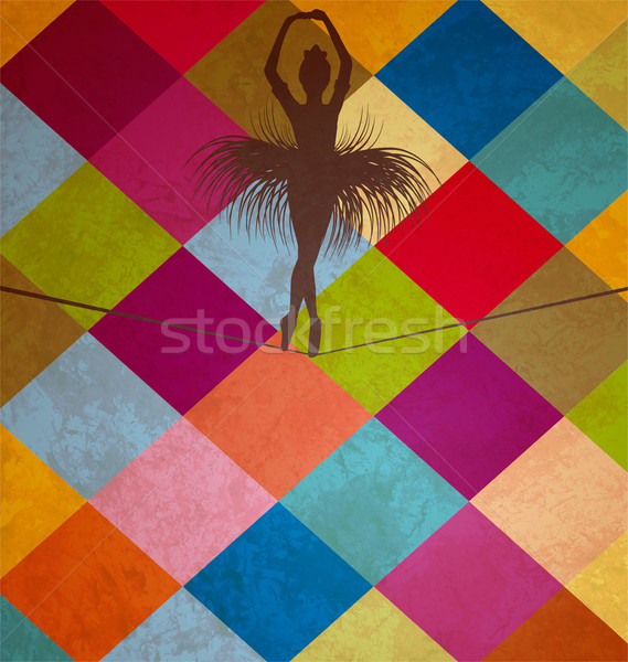 young dancing  balancing acrobat woman on grunge squares woman Stock photo © cherju