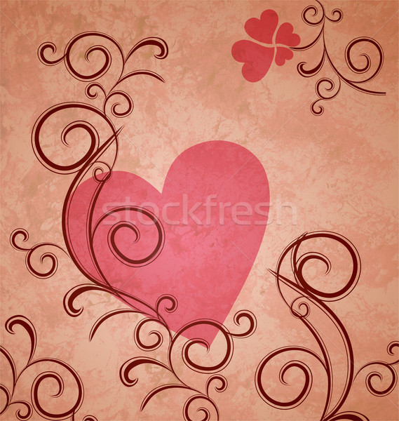 pink heart on brown grunge paper background with flourishes and  Stock photo © cherju