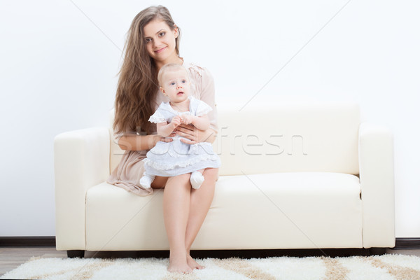 mother and baby on sofa Stock photo © chesterf