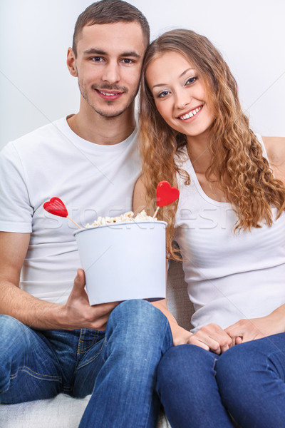 couple with pop corn Stock photo © chesterf