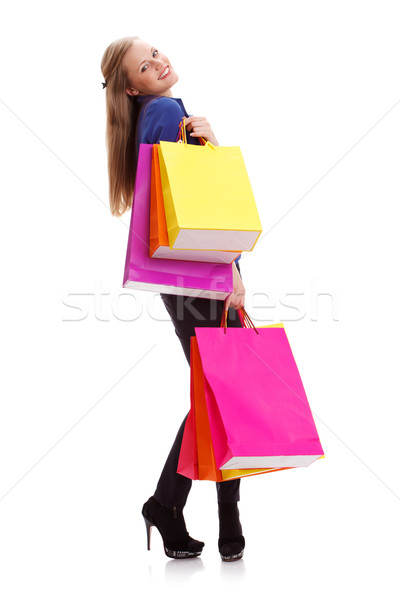 woman carrying shopping bags Stock photo © chesterf