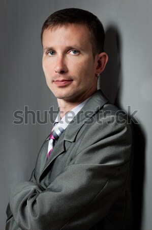 closeup businessman portraiy near wall Stock photo © chesterf