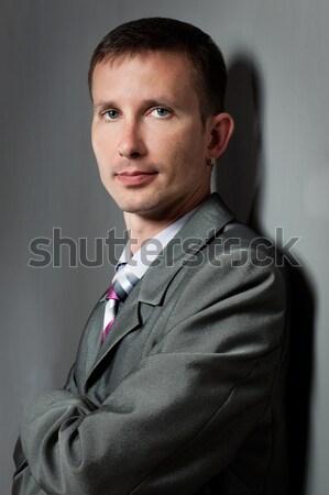 closeup businessman portraiy near wall Stock photo © chesterf