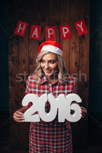 woman holding 2016 numbers, christmas theme Stock photo © chesterf