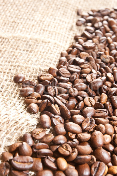 coffee beans on hessian Stock photo © chesterf